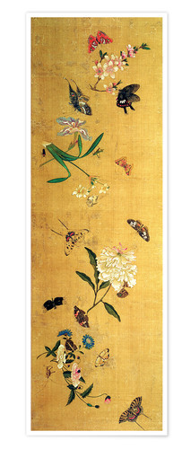 Premium poster 100 butterflies, flowers and insects, detail