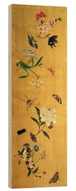 Wood print  100 butterflies, flowers and insects, detail - Chen Hongshou