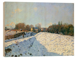 Wood print  Snow at Argenteuil - Alfred Sisley