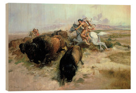 Wood print  Buffalo Hunt, 1897 - Charles Marion Russell