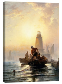 Canvas print  Fish Pond, Orient Bay, Long Island - Edward Moran