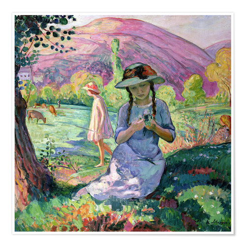 Premium poster Young Girl picking Flowers, 1910