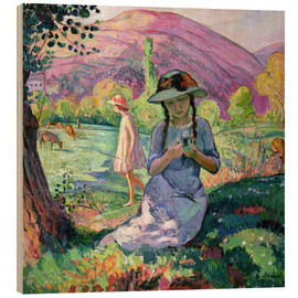 Wood  Young Girl picking Flowers, 1910 - Henri Lebasque