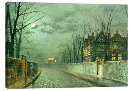 Canvas print  Old English House, Moonlight after Rain - John Atkinson Grimshaw