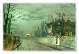 Premium poster Old English House, Moonlight after Rain