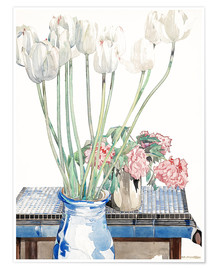 Premium poster  White tulips - Charles Rennie Mackintosh