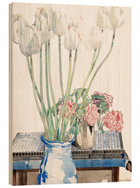Wood print  White tulips - Charles Rennie Mackintosh