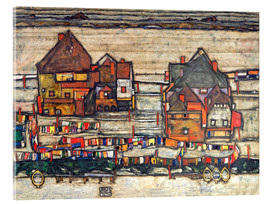 Acrylic print  Houses with colorful laundry - Egon Schiele