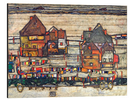 Aluminium print  Houses with colorful laundry - Egon Schiele
