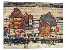 Foam board print  Houses with colorful laundry - Egon Schiele