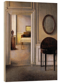 Wood  Interior with a mirror - Vilhelm Hammershøi