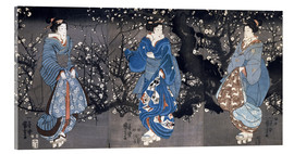 Utagawa Kuniyoshi - An oban triptych depicting a Nocturnal Scene with three Bijin