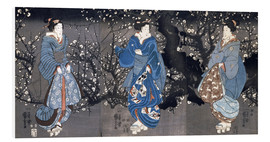 Foam board print  An oban triptych depicting a Nocturnal Scene with three Bijin - Utagawa Kuniyoshi