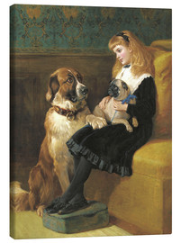 Canvas print  Her only Playmates, 1870 - Hardy Heywood