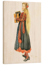 Wood print  Lisbeth Playing the Accordion - Carl Larsson