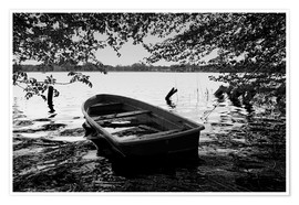 Premium poster Old boat under trees - black white