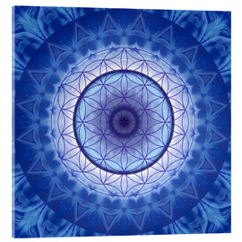 Acrylic print  Flower of life blue - Christine Bässler