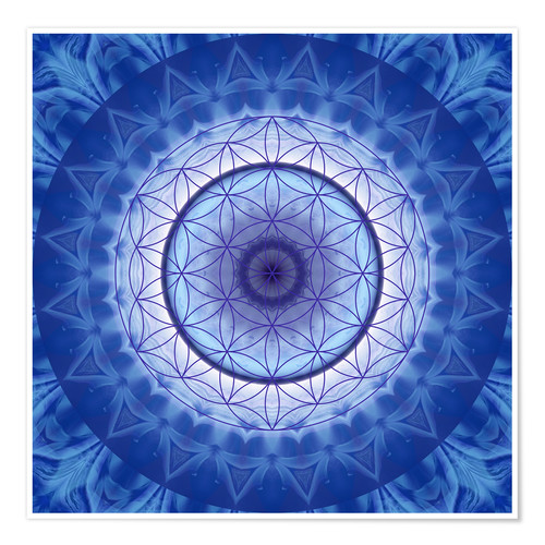 Premium poster Flower of life blue