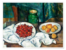 Premium poster  Cherries and peaches - Paul Cézanne