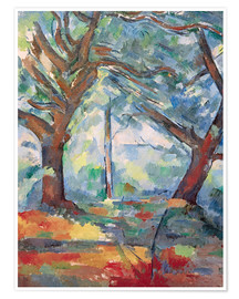 Premium poster  Large trees - Paul Cézanne