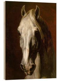 Wood print  Head of a white horse - Theodore Gericault