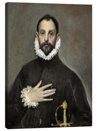 Canvas  The Caballero with his Hand on His Heart - Dominikos Theotokopoulos (El Greco)
