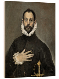 Wood  The Caballero with his Hand on His Heart - Dominikos Theotokopoulos (El Greco)