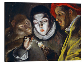 Aluminium print  Ape, boy lighting a candle and man - Dominikos Theotokopoulos (El Greco)