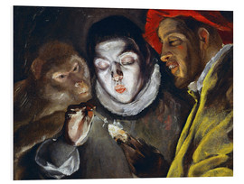Foam board print  Ape, boy lighting a candle and man - Dominikos Theotokopoulos (El Greco)