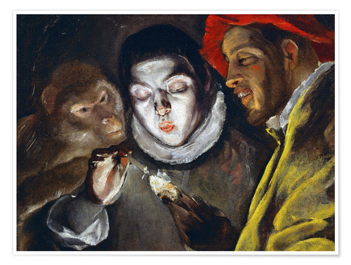 Premium poster Ape, boy lighting a candle and man