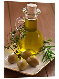 Acrylic glass  Olive oil and olives - Edith Albuschat