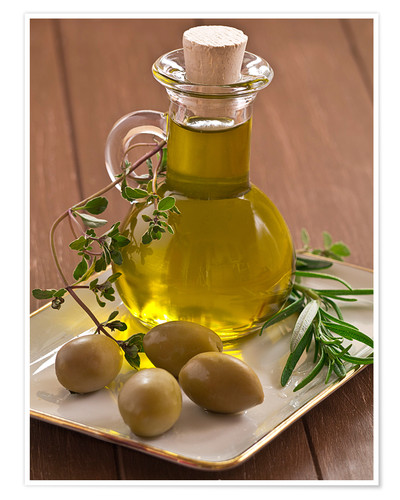 Poster Olive oil and olives