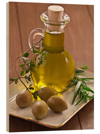 Wood print  Olive oil and olives - Edith Albuschat