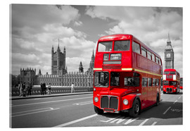 Acrylic glass  Westminster Bridge and Red Buses - Melanie Viola