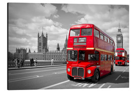 Alu-Dibond  Westminster Bridge and Red Buses - Melanie Viola