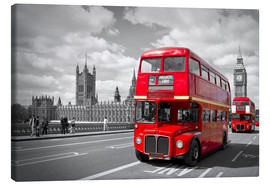 Canvas print  Westminster Bridge and Red Buses - Melanie Viola