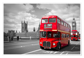 Premium poster Westminster Bridge and Red Buses