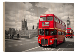 Wood  Westminster Bridge and Red Buses - Melanie Viola
