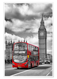 Premium poster Big Ben and Red Bus