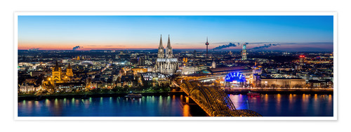 Premium poster Birdseye view of Cologne