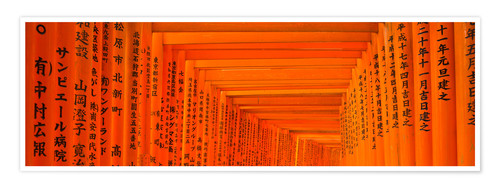 Premium poster Red gates of Fushimi Inari Taisha Shrine in Kyoto Japan