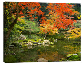 Canvas print  Japanese garden in autumn with red maple tree - Jan Christopher Becke
