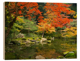 Wood print  Japanese garden in autumn with red maple tree - Jan Christopher Becke