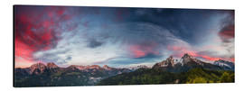 Alu-Dibond  Sunset over the Berchtesgaden - Moqui, Daniela Beyer
