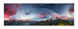 Premium poster Sunset over the Berchtesgaden