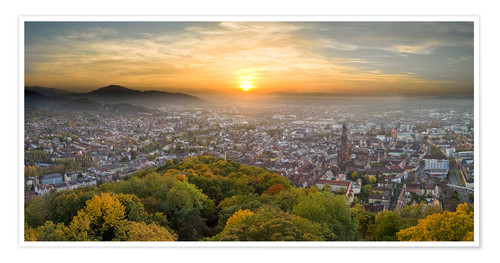 Premium poster Freiburg at sunset