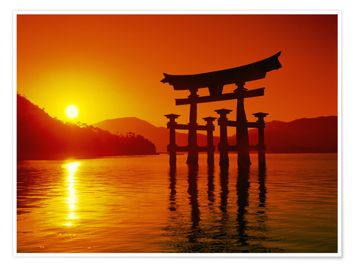 Premium poster Itsukushima shrine in the evening