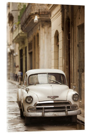 Acrylic glass  Havana street with 1950s vintage car - Walter Bibikow