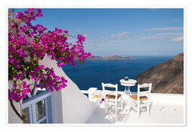 Poster  Hotel terrace with pink flowers and stunning views - Bill Bachmann