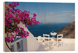 Wood print  Hotel terrace with pink flowers and stunning views - Bill Bachmann